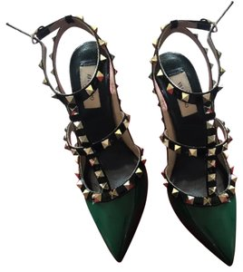 Valentino Green, Black & Gold Pumps