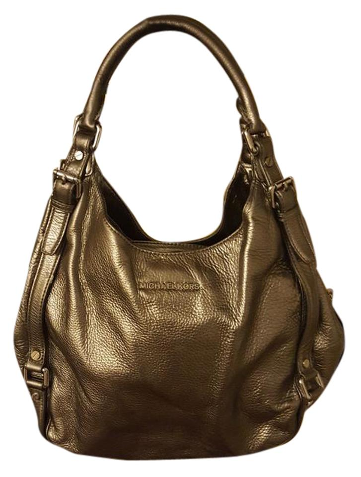 ad91eae4b Michael Kors Shoulder Metallic Silver Gray Leather Hobo Bag - Tradesy