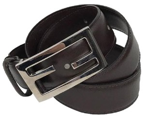 Fendi FENDI Dark Brown Leather Belt Size 80/32 w/ Silver Buckle!