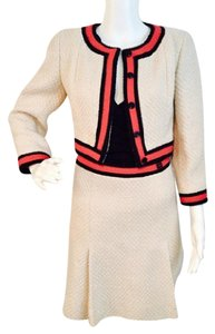 Chanel CHANEL Size 36 (2/XS) Ivory Tweed Suit w/ Red & Navy Stripe Trim & Pleated Skirt!