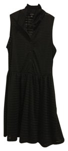 Better B. short dress Black Button Up Striped Collared on Tradesy