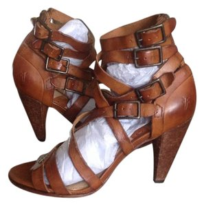 Frye Strappy Leather Heeled Cognac Sandals