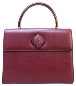 Cartier Leather Top Handle Tote in wine