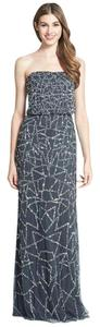 Adrianna Papell Embellished Strapless Sequin Blouson Silver Dress