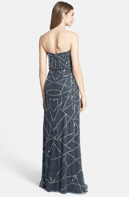 Adrianna Papell Embellished Strapless Sequin Blouson Silver Dress Image 1