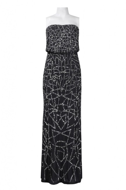 Adrianna Papell Embellished Strapless Sequin Blouson Silver Dress Image 2