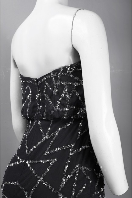 Adrianna Papell Embellished Strapless Sequin Blouson Silver Dress Image 3