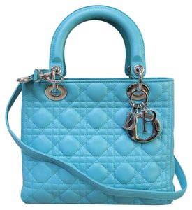 Dior Medium Lady Lambskin Satchel in deepskyblue