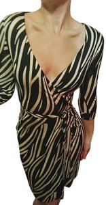 Diane von Furstenberg short dress Black White Dvf Wrap Zebra Black on Tradesy
