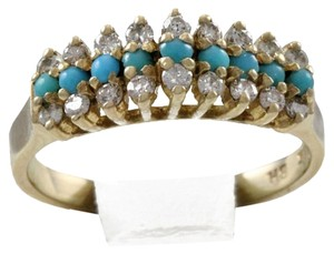 BHLDN RESERVED 14K Solid Yellow Gold Turquoise Diamond Ring
