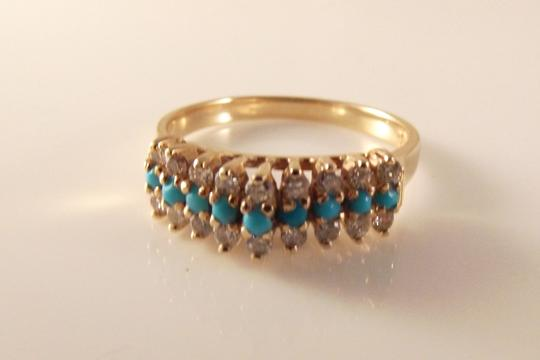 BHLDN RESERVED 14K Solid Yellow Gold Turquoise Diamond Ring Image 1