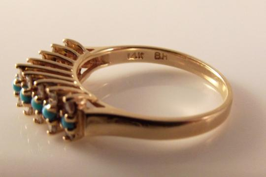 BHLDN RESERVED 14K Solid Yellow Gold Turquoise Diamond Ring Image 3