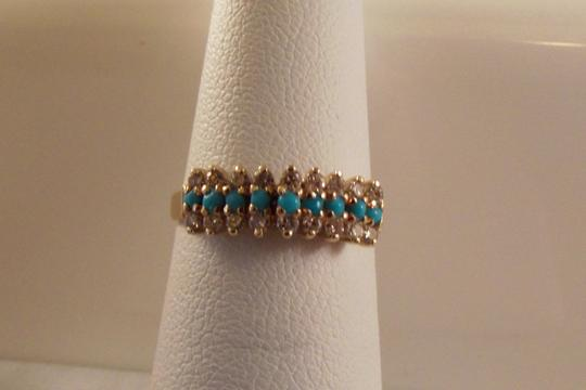 BHLDN RESERVED 14K Solid Yellow Gold Turquoise Diamond Ring Image 5