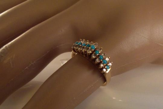 BHLDN RESERVED 14K Solid Yellow Gold Turquoise Diamond Ring Image 6