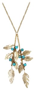 Ocean Fashion Pendant golden leaves and beads sweater necklace