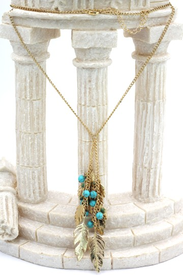 Ocean Fashion Pendant golden leaves and beads sweater necklace Image 2