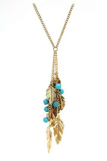 Ocean Fashion Pendant golden leaves and beads sweater necklace Image 4