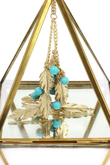 Ocean Fashion Pendant golden leaves and beads sweater necklace Image 5