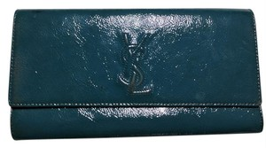 Saint Laurent Patent Leather Ysl Designer Teal/Blue Clutch
