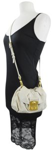 Marc by Marc Jacobs Monogram Logo Leather Gold Beige Cross Body Bag