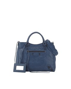 Balenciaga Classic City Velo Studded Satchel in Atlantique Blue