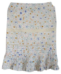 Tibi Cotton Lace Pleats Skirt Multi, White, Blue, Green, Orange