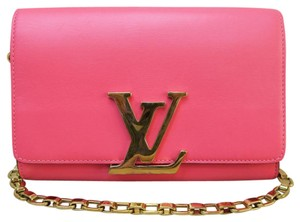 Louis Vuitton Lv Chain Mm Watermelon Red Calfskin Shoulder Bag