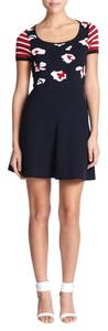RED Valentino short dress Blue A-line Floral Valentino Knit on Tradesy