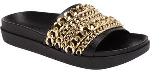 Kendall + Kylie Shiloh Chain Link Slide black gold Platforms