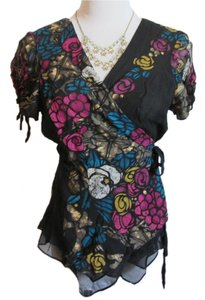 Nanette Lepore Silk Top Black, Multi