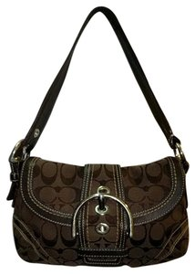 Coach Jacquard Canvas Leather Satchel in Brown
