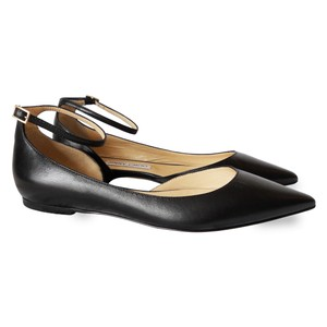 Jimmy Choo Leather Pointed Toe Ankle Strap Ballet Black Flats