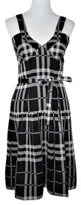 Burberry London short dress Black and White Cotton Plaid Sleeveless A-line on Tradesy