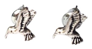 BCBGeneration hummingbird stud earrings antique silver color