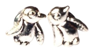 BCBGeneration penguin bird stud earrings antique silver color
