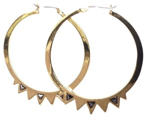 BCBGeneration boho studded spike hoop earrings gold color