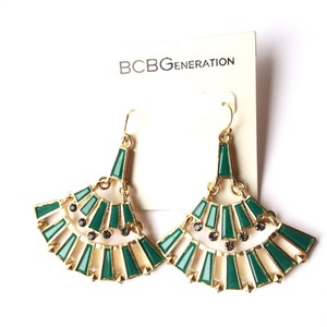 BCBGeneration teal gold color rhinestone earrings
