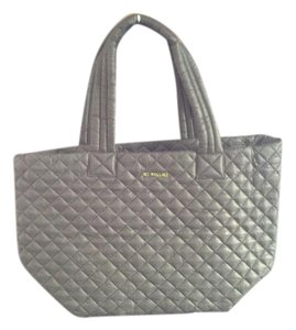 MZ Wallace Quilted Lightweight Leather Trim Gold Hardware Waterproof Tote in Charcoal Grey