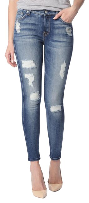 Item - Blue Distressed 7fam Ankle with Destroy Light Skinny Jeans Size 26 (2, XS)