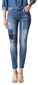 7 For All Mankind Ankle Patchwork Ankle Skinny Jeans-Medium Wash