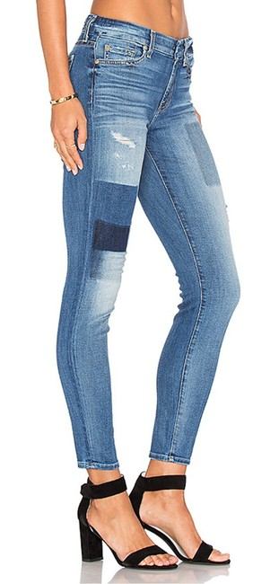 7 For All Mankind Ankle Patchwork Ankle Skinny Jeans-Medium Wash Image 1