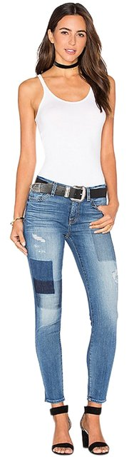7 For All Mankind Ankle Patchwork Ankle Skinny Jeans-Medium Wash Image 2
