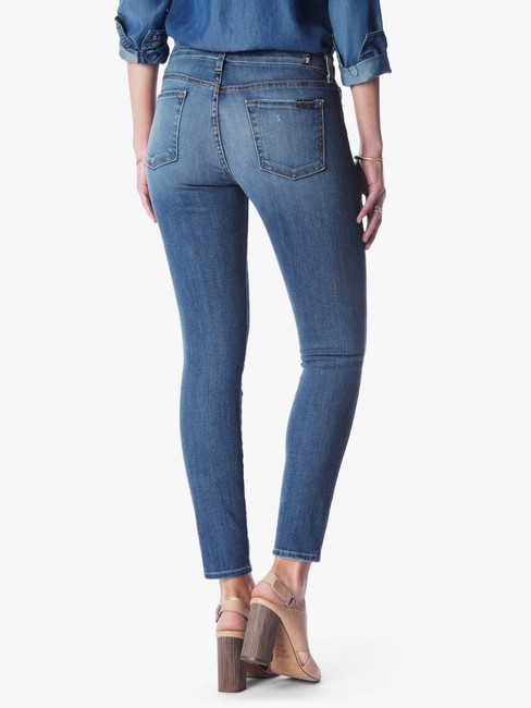 7 For All Mankind Ankle Patchwork Ankle Skinny Jeans-Medium Wash Image 3