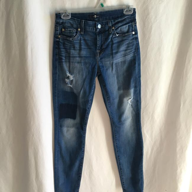 7 For All Mankind Ankle Patchwork Ankle Skinny Jeans-Medium Wash Image 5