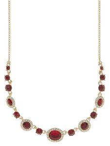 Givenchy Swarovski Crystals Gold-Tone, Red Crystal Frontal Necklace