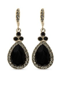 Givenchy Swarovski Crystals Gold-Tone black gold one Pear Drop Earrings