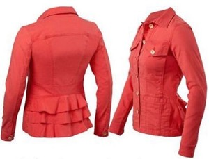 CAbi Ruffle Coral Red Jacket