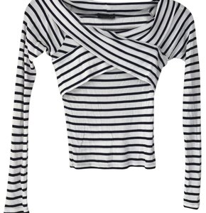 Topshop Top white + navy striped