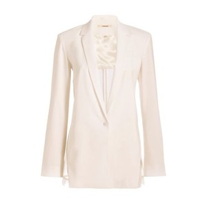 J Brand Sheer Linen Pop White Blazer