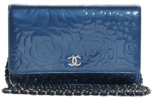 Chanel Woc Camelia Embossed Teal Cross Body Bag